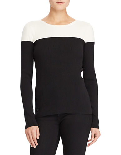Lauren Ralph Lauren Two-Tone Rib-Knit Sweater-BLACK-X-Small
