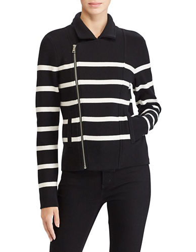 Lauren Ralph Lauren Striped Moto Jacket-BLACK-Small
