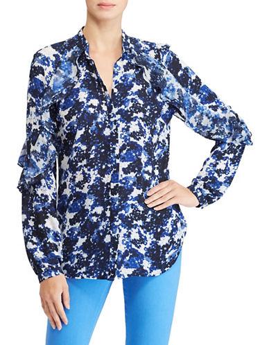 Lauren Ralph Lauren Petite Ruffled Floral Georgette Button-Down Shirt-ASSORTED-Petite Medium