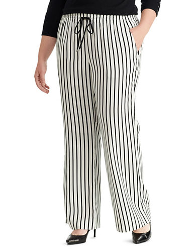 Lauren Ralph Lauren Plus Striped Wide-Leg Pants-CREAM-2X