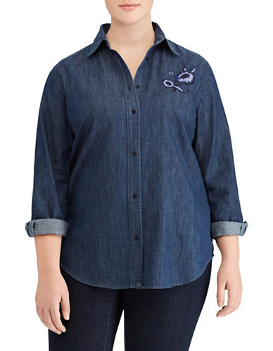 Lauren Ralph Lauren Plus Embroidered Denim Shirt-BLUE-1X