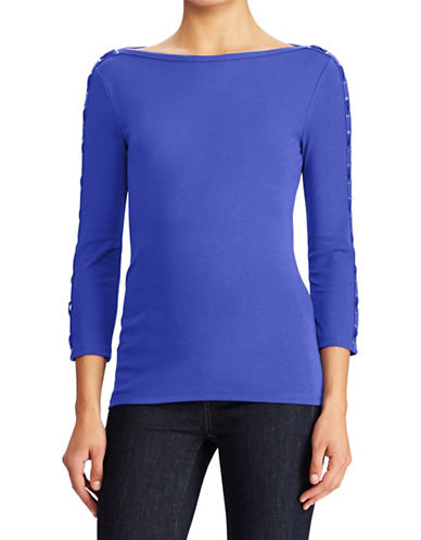 Lauren Ralph Lauren Petite Lace-Up Boat Neck Top-BLUE-Petite X-Small