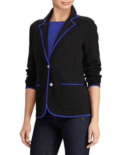 Lauren Ralph Lauren Petite Notch Lapel Sweater Blazer-BLACK-Petite Medium
