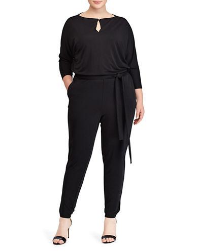 Lauren Ralph Lauren Plus Jersey Keyhole Jumpsuit-BLACK-2X 89719298_BLACK_2X