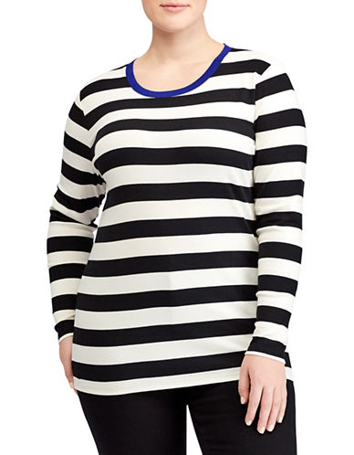 Lauren Ralph Lauren Plus Contrast Collar Striped Tee-WHITE-2X