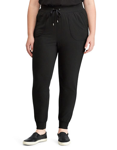 Lauren Ralph Lauren Plus Slim-Fit Jogger Pants-BLACK-2X