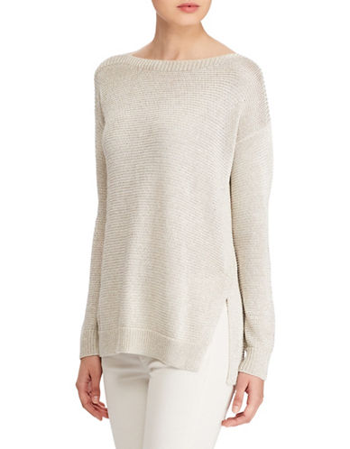 Polo Ralph Lauren Metallic Ribbed Sweater-NATURAL-Medium