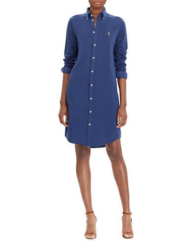 Polo Ralph Lauren Knit Cotton Oxford Shirtdress-BLUE-X-Large