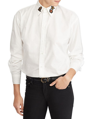 Polo Ralph Lauren Bullion-Patch Boyfriend Shirt-WHITE-14