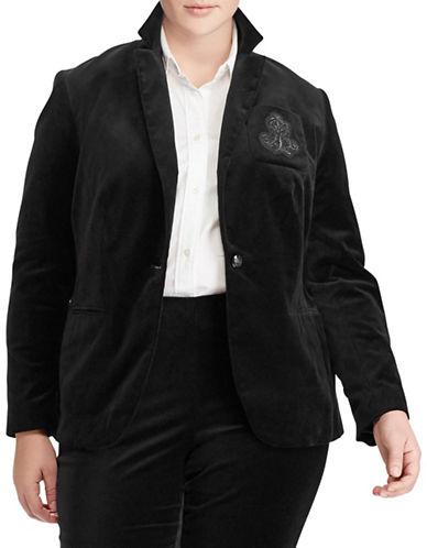 Lauren Ralph Lauren Plus Crest Stretch Velvet Blazer-POLO BLACK-18W