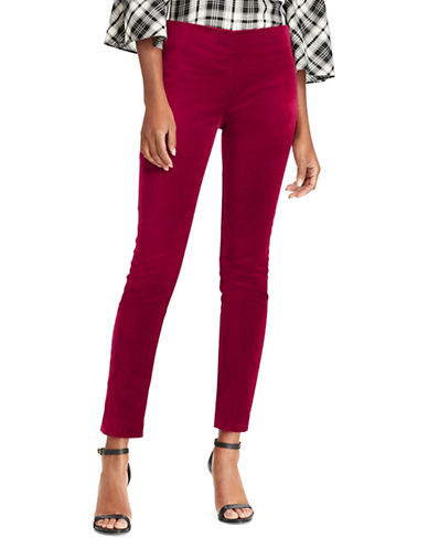 Lauren Ralph Lauren Stretch Velvet High-Rise Skinny Pants-PURPLE-14