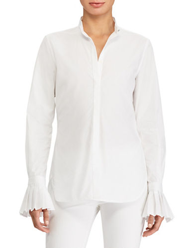 Lauren Ralph Lauren Pleated Cuff Cotton Poplin Shirt-WHITE-X-Large