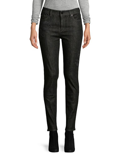 Lauren Ralph Lauren Embroidered Skinny Jeans-BLACK-16