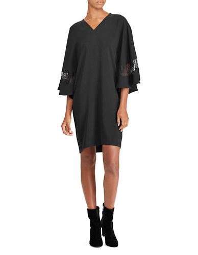 Lauren Ralph Lauren Lace-Trim Crepe Dress-BLACK-Medium 89716699_BLACK_Medium