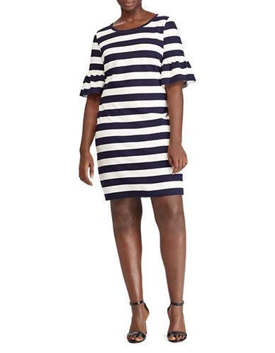 Lauren Ralph Lauren Plus Ruffle-Cuff Striped Ponte Dress-NAVY-3X