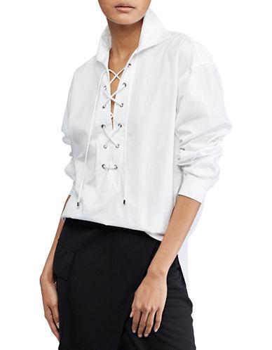 Polo Ralph Lauren Lace-Up Cotton Top-WHITE-Medium 89939502_WHITE_Medium