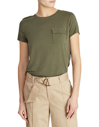 Lauren Ralph Lauren Short-Sleeve Knit Pocket Tee-GREEN-Large 90089545_GREEN_Large