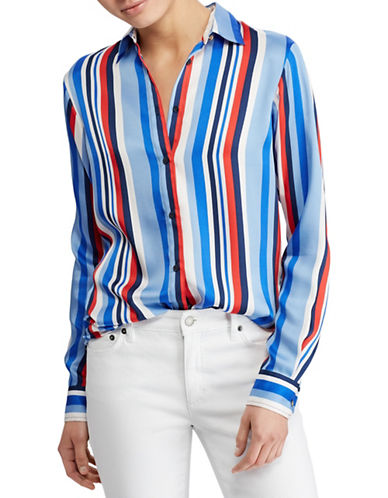 Lauren Ralph Lauren Embroidered Striped Cotton Shirt-MULTI-Small