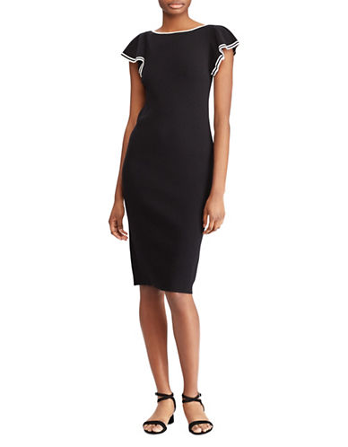 Lauren Ralph Lauren Boat Neck Sheath Dress-BLACK-X-Small 89955876_BLACK_X-Small