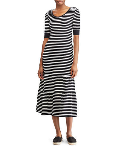 Lauren Ralph Lauren Striped Fit-and-Flare Dress-BLACK-X-Small 89949600_BLACK_X-Small