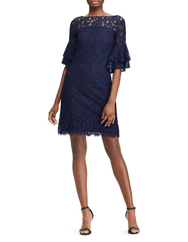 Lauren Ralph Lauren Lace Bell-Sleeve Dress-NAVY-18