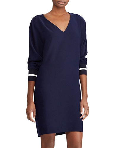 Lauren Ralph Lauren Petite Crepe Shift Dress-NAVY-Petite 10