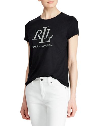 Lauren Ralph Lauren Graphic Logo Tee-BLACK-X-Small