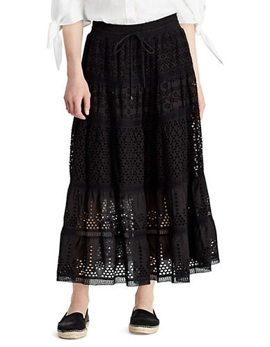 Lauren Ralph Lauren Eyelet Cotton A-Line Skirt-BLACK-X-Small 90089597_BLACK_X-Small