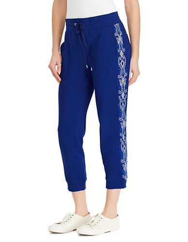Lauren Ralph Lauren Embroidered French Terry Jogger Pants 90109585