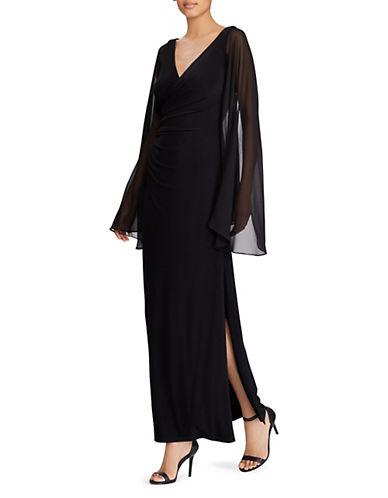 Lauren Ralph Lauren Georgette-Sleeve Jersey Evening Gown 90031843