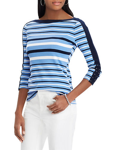 Chaps Striped Lace-Up Cotton Top-BLUE-X-Small 90066290_BLUE_X-Small
