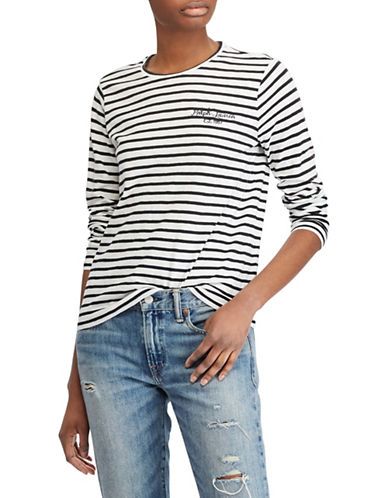Polo Ralph Lauren Long-Sleeve Striped Cotton Tee-WHITE-Large 89939387_WHITE_Large