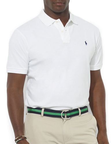 Polo Ralph Lauren Big and Tall Classic-Fit Short-Sleeved Cotton Mesh Polo-WHITE-Large Tall