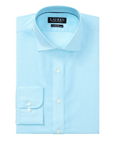 Lauren Ralph Lauren Slim Fit No-Iron Cotton Dress Shirt-BLUE-17-34/35
