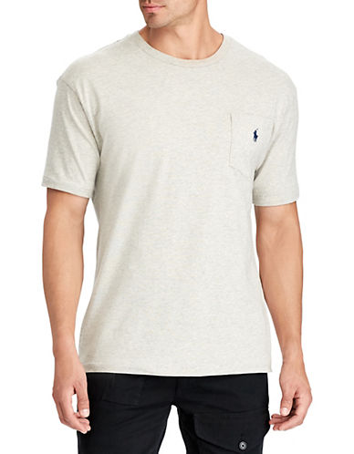Polo Ralph Lauren Big and Tall Short-Sleeved Pocket Crewneck T-Shirt-NEW GREY HEATHER-3X Tall