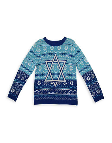 33 Degrees Star of David Cotton Sweater-BLUE-X-Large