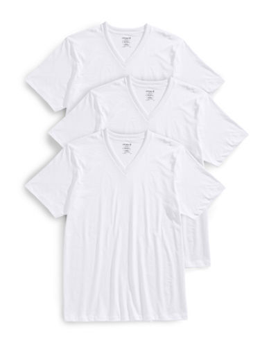 Jockey Three-Pack Classic V-Neck T-Shirts-WHITE-Small