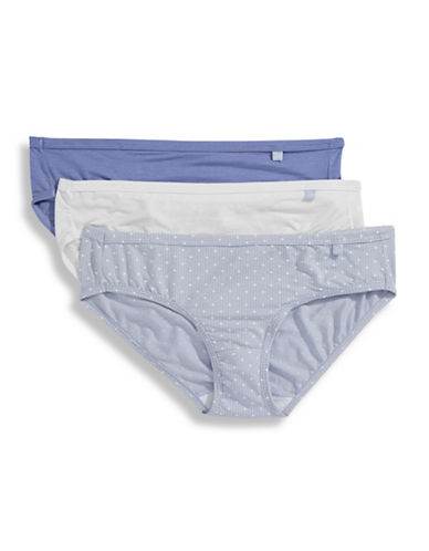 Jockey Three-Pack Elance Bikini Briefs-WHITE/BLUE ORION/BLUE DOT-6