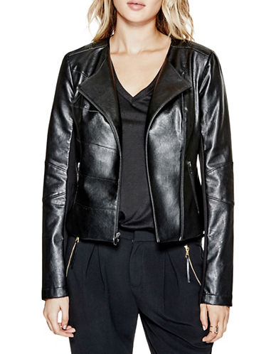 Guess Shaun Faux-Leather Jacket-JET BLACK-X-Small 88583171_JET BLACK_X-Small