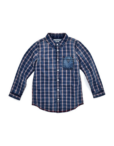 Guess Long Sleeve Plaid Shirt-BLUE-7
