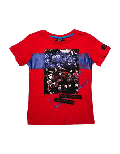 Guess Guitar Pick Graphic Tee-RED-6 88906229_RED_6