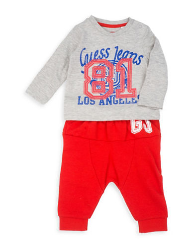 Guess Two-Piece Cotton Tee & Joggers Set-GREY/RED-12 Months