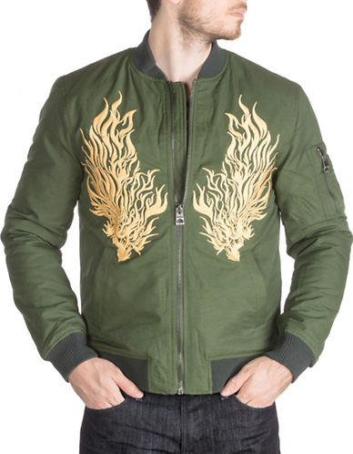Guess Explorer Embroidered Bomber Jacket-GREEN-Large 88656702_GREEN_Large