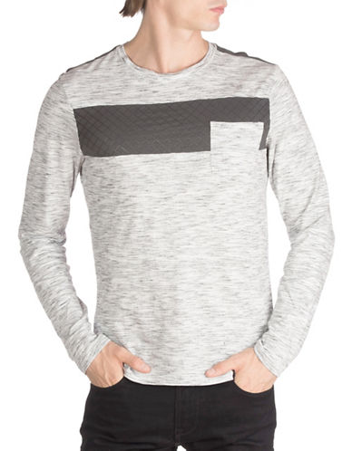 Guess Long Sleeve Panel T-Shirt-GREY-X-Large 88742624_GREY_X-Large