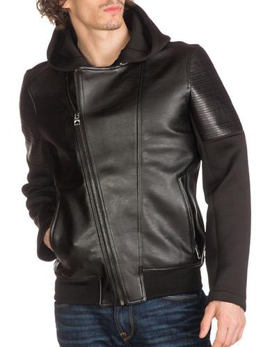 Guess Hooded Mixed -Media Moto Jacket-BLACK-X-Small 89048198_BLACK_X-Small