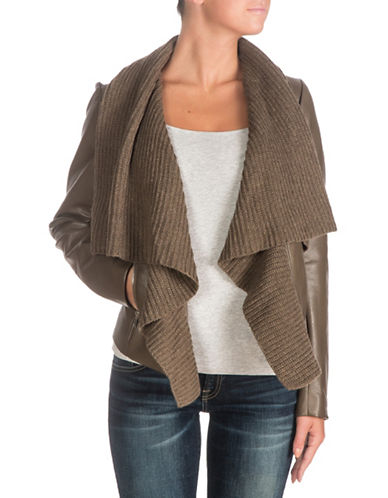 Guess Aileen Knitted Sweater Mix Jacket-BROWN-Large 88722197_BROWN_Large
