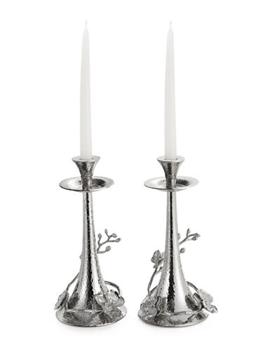 Michael Aram White Orchid Two-Piece Candleholders-SILVER-One Size