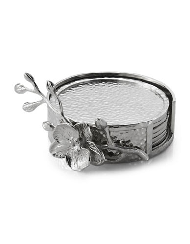 Michael Aram White Orchid Six-Piece Coaster Set-SILVER-One Size