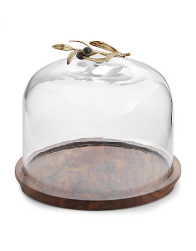 Michael Aram Olive Branch Glass Dome with Wooden Base-WOOD-One Size