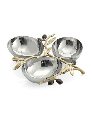 Michael Aram Olive Branch Triple Compartment Stainless Steel Dish-GOLD-One Size